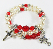 Holy Spirit Wrap Bracelet with Swarovski Pearls and Czech Beads