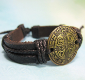 St. Benedict Medal Adjustable Leather Bracelet