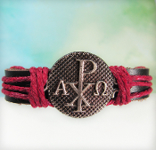 Chi Rho Adjustable Leather Bracelet