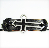 Cut-Out Cross Black Adjustable Leather Bracelet
