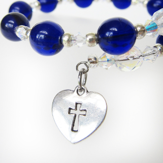 St. Mary's Inspired Rosary Wrap Bracelet with Swarovski Heart