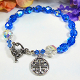 Spes Unica Cross Bracelet with Sparkly Blue Beads