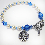 French Cross Charm Rosary Bracelet with Toggle Clasp