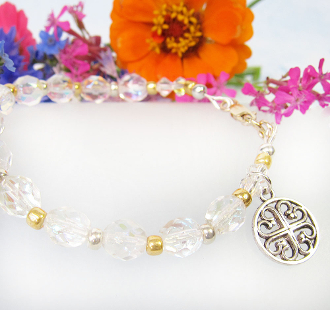 Sparkly Czech Glass Beads and French Cross Bracelet