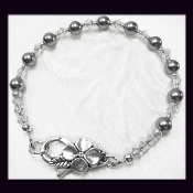 Swarovski Gray Crystal Faux Pearl Bracelet with Pewter Clasp