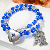Blue Czech Bead Angel Wrap Bracelet with Heart Cross