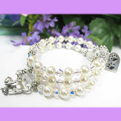Cat Lovers Remembrance Swarovski Faux Pearl Bracelet