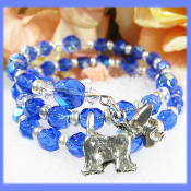 Dog Lovers Sapphire Color Czech Bead Double Wrap Bracelet