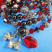Hematite Dog Remembrance Multi Wrap Bracelet with Scottie