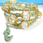 La Sirena Mermaid Czech Beach Triple Wrap Bracelet