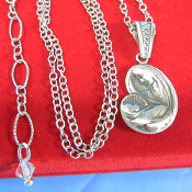 Sterling Silver Madonna and Child 18 to 20 Inch Necklace
