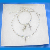 First Communion Swarovski Necklace and Rosary Bracelet Set