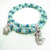 La Sirena Czech Blue Green Double Wrap Mermaid Bracelet