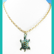 La Sirena Bronze Color Turtle Pendant on Gold Rollo Chain