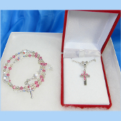 First Communion or Wedding Set with Swarovski Pink Crystals