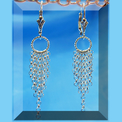 Silver Fleur de Lis Leverback Dangle Earrings