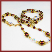 Swarovski Crystal and Burgundy Czech Bead Necklace Set